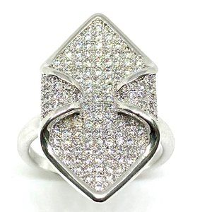 Sterling Silver Micro Pave Cz Cocktail Ring 6''